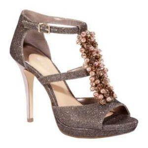 Gianni Bini Briella Metallic T-Strap Heels Gold